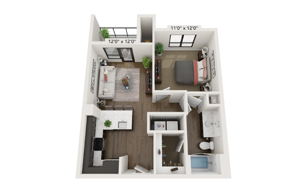 A1A - 1 bedroom floorplan layout with 1 bath and 629 square feet.