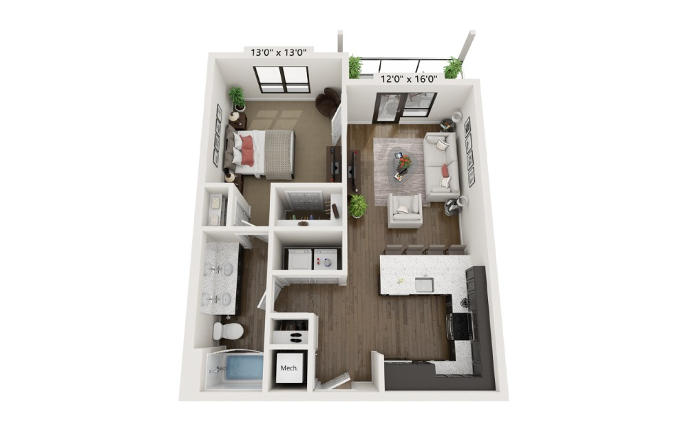 A1B - 1 bedroom floorplan layout with 1 bath and 726 square feet.