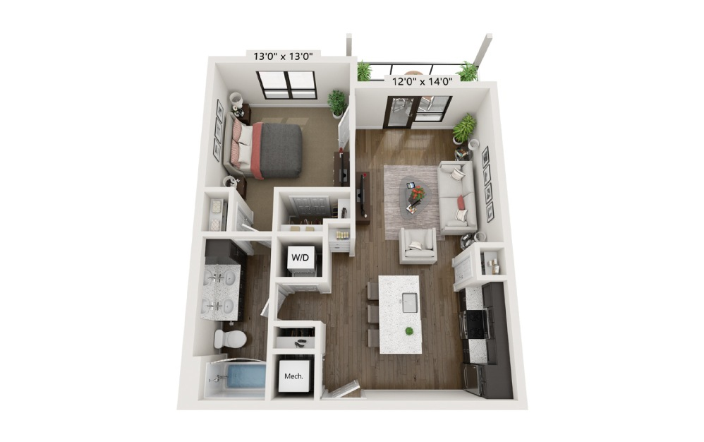 A1C - 1 bedroom floorplan layout with 1 bath and 726 square feet.