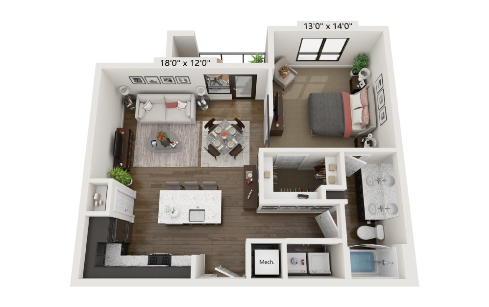A1D - 1 bedroom floorplan layout with 1 bath and 787 square feet.
