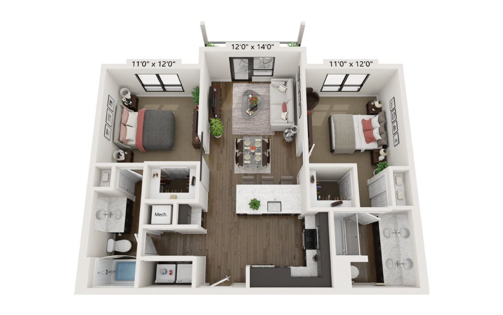 B2A - 2 bedroom floorplan layout with 2 baths and 1014 square feet.