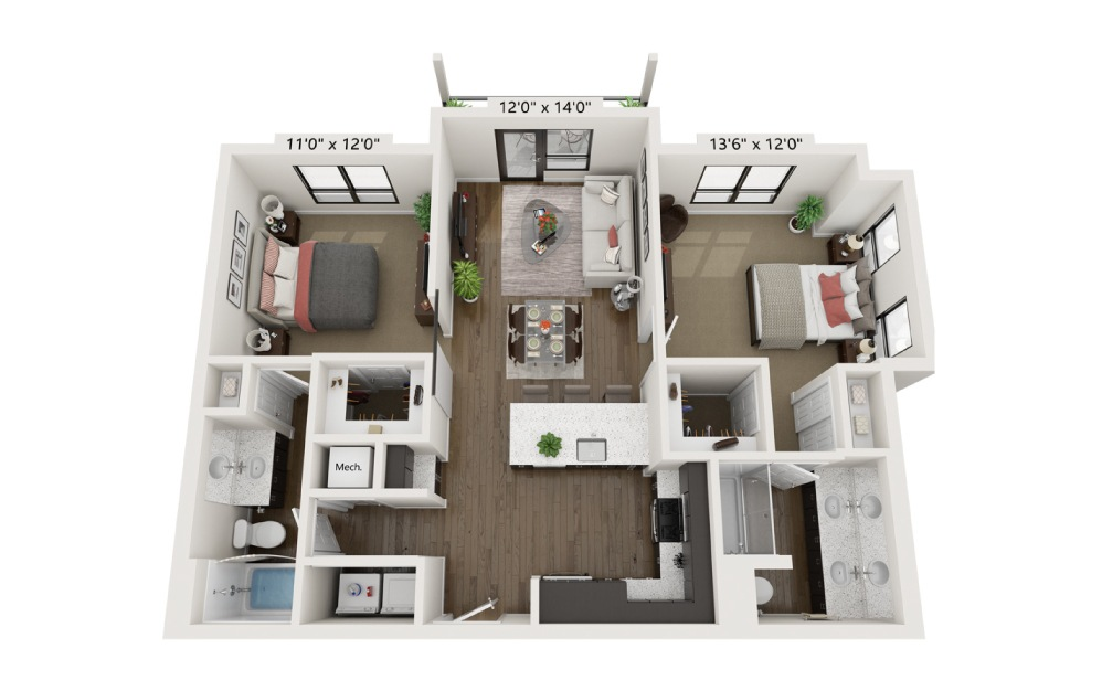 B2B - 2 bedroom floorplan layout with 2 baths and 1041 square feet.
