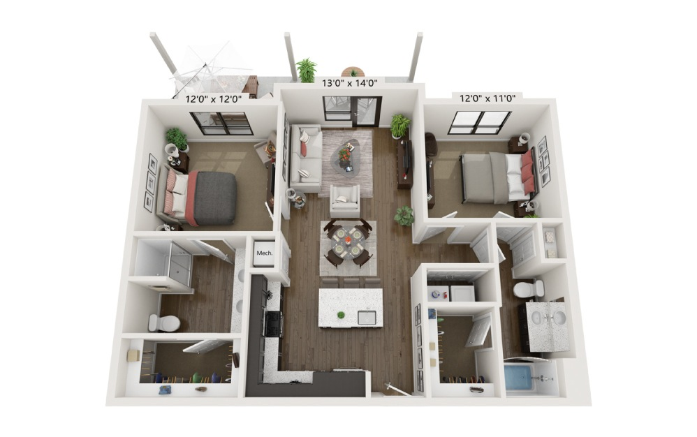 B2C - 2 bedroom floorplan layout with 2 baths and 1142 square feet.