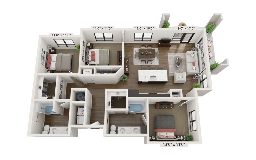 C2B - 3 bedroom floorplan layout with 2 baths and 1382 square feet.